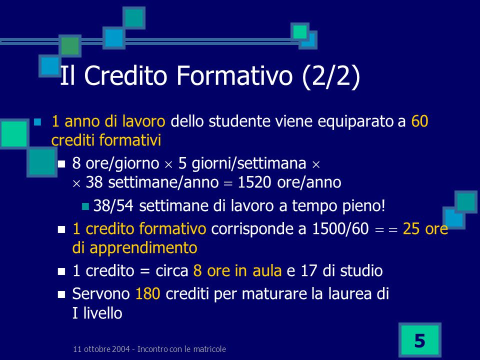11 ottobre 2004 - Incontro con le matricole 5 Il Credito Formativo (2/2) 1 anno di lavoro dello studente viene equiparato a 60 crediti formativi 8 ore/giorno  5 giorni/settimana   38 settimane/anno  1520 ore/anno 38/54 settimane di lavoro a tempo pieno.
