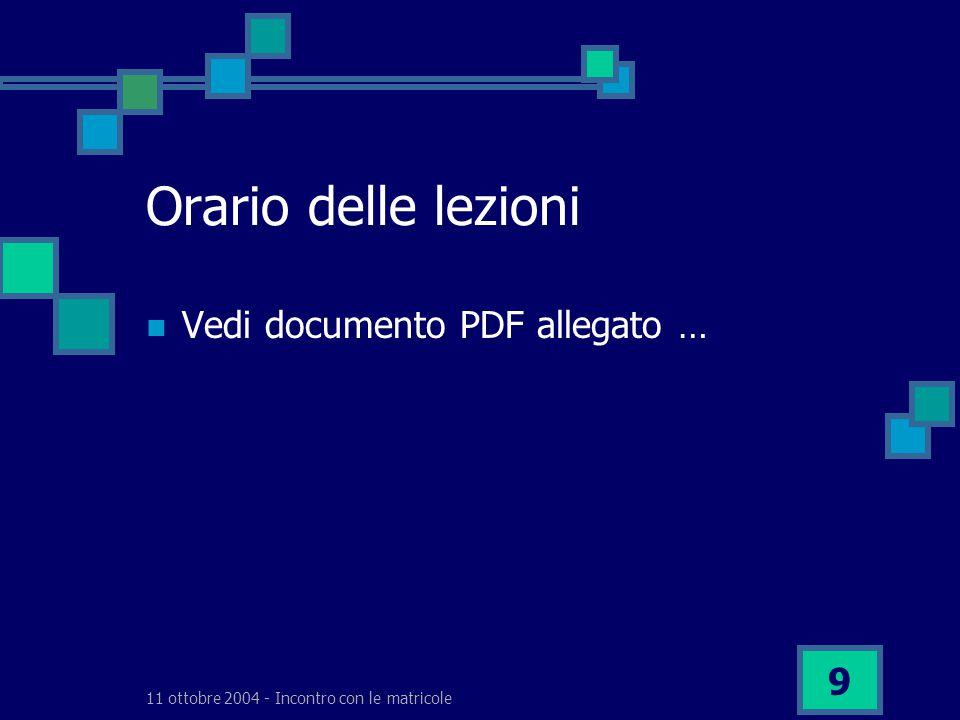 11 ottobre 2004 - Incontro con le matricole 9 Orario delle lezioni Vedi documento PDF allegato …