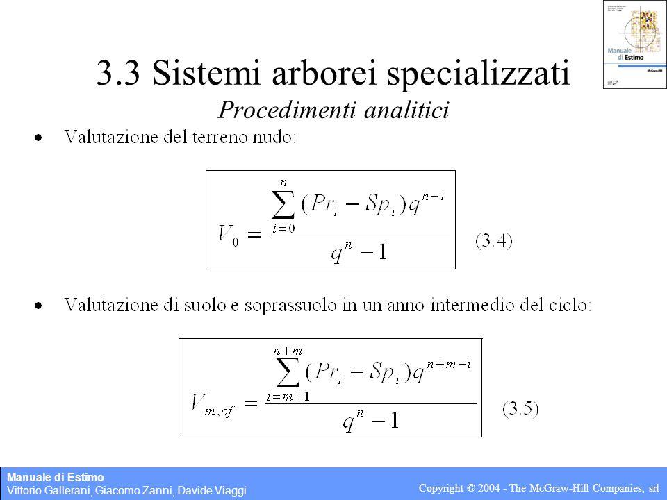 Manuale di Estimo Vittorio Gallerani, Giacomo Zanni, Davide Viaggi Copyright © 2004 - The McGraw-Hill Companies, srl 3.3 Sistemi arborei specializzati