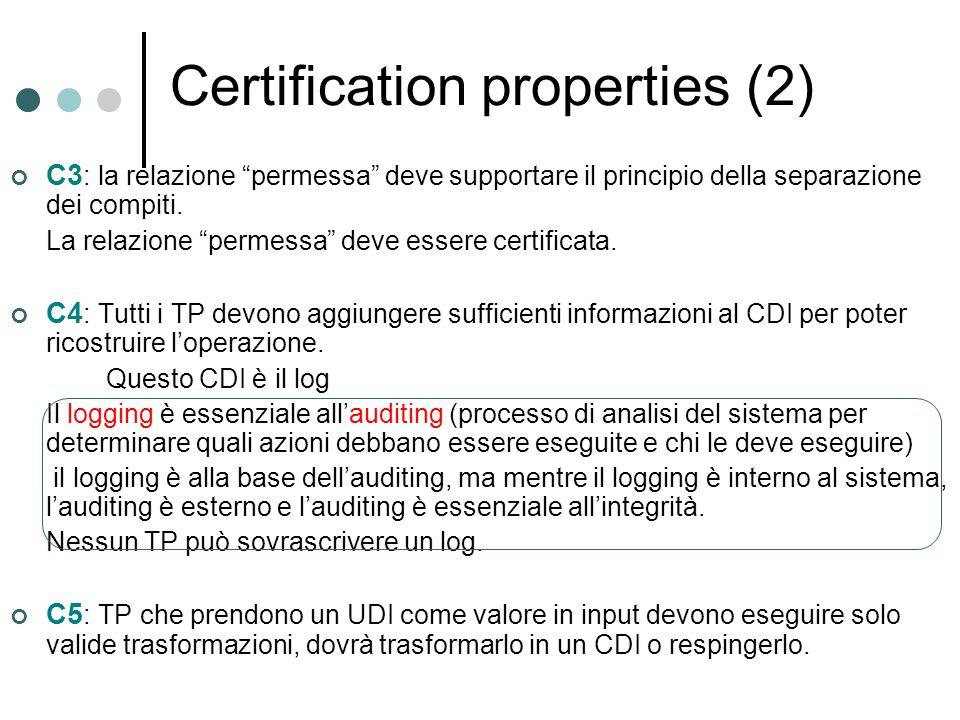 """Certification properties (2) C3 : la relazione """"permessa"""" deve supportare il principio della separazione dei compiti. La relazione """"permessa"""" deve ess"""