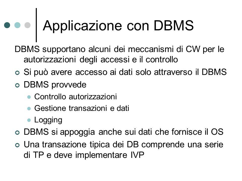 Applicazione con DBMS DBMS supportano alcuni dei meccanismi di CW per le autorizzazioni degli accessi e il controllo Si può avere accesso ai dati solo
