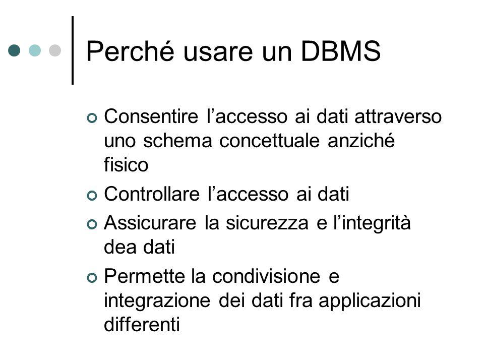 Perché usare un DBMS Consentire l'accesso ai dati attraverso uno schema concettuale anziché fisico Controllare l'accesso ai dati Assicurare la sicurez