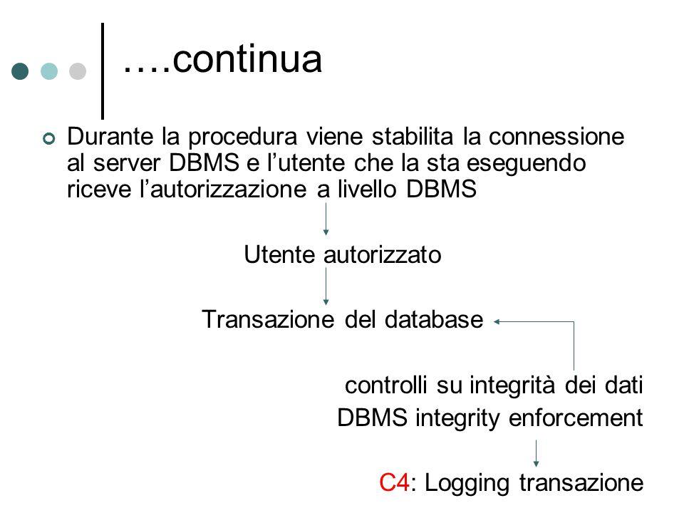 Durante la procedura viene stabilita la connessione al server DBMS e l'utente che la sta eseguendo riceve l'autorizzazione a livello DBMS Utente autor