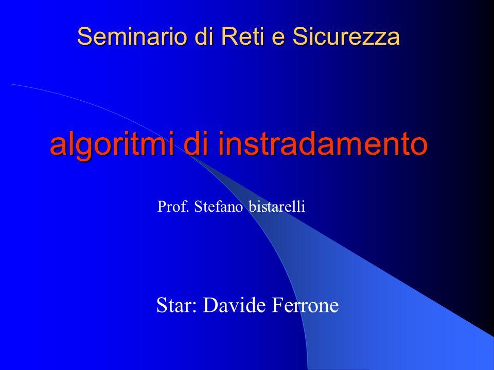 Seminario di Reti e Sicurezza algoritmi di instradamento Star: Davide Ferrone Prof.