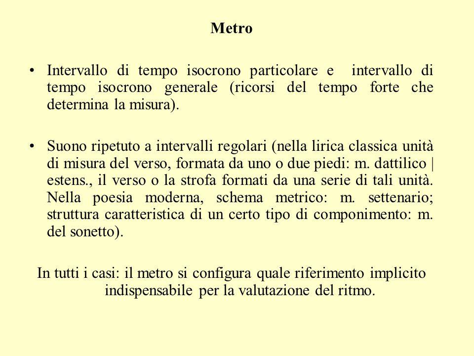 Metro Intervallo di tempo isocrono particolare e intervallo di tempo isocrono generale (ricorsi del tempo forte che determina la misura).