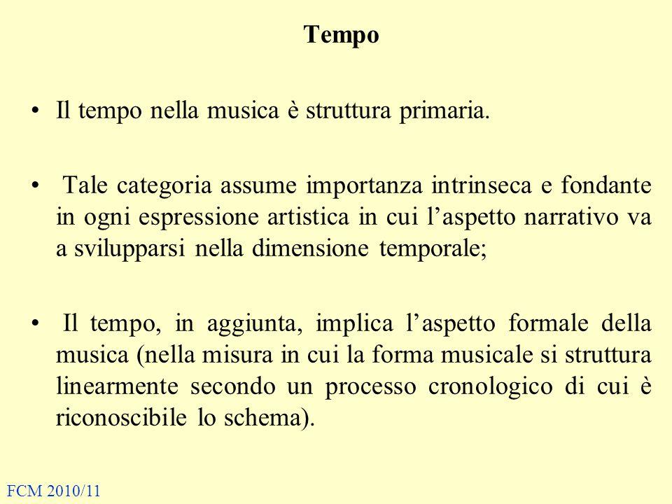 Tempo Il tempo nella musica è struttura primaria.