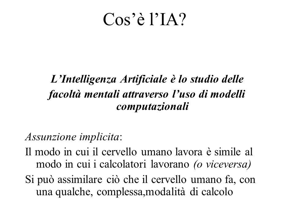 Cos'è l'IA? L'Intelligenza Artificiale è lo studio delle facoltà mentali attraverso l'uso di modelli computazionali Assunzione implicita: Il modo in c
