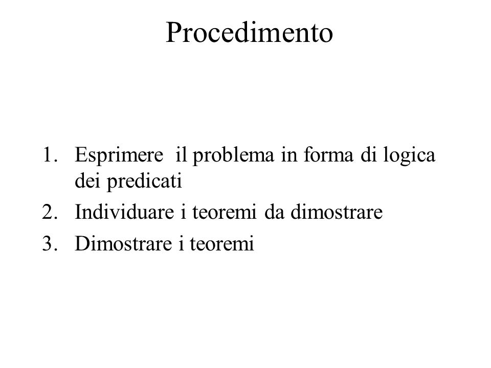 Procedimento 1.Esprimere il problema in forma di logica dei predicati 2.Individuare i teoremi da dimostrare 3.Dimostrare i teoremi
