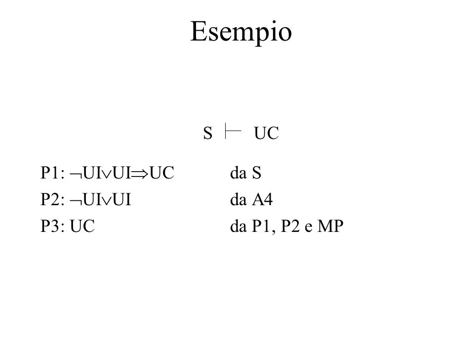Esempio P1:  UI  UI  UCda S P2:  UI  UIda A4 P3: UCda P1, P2 e MP SUC