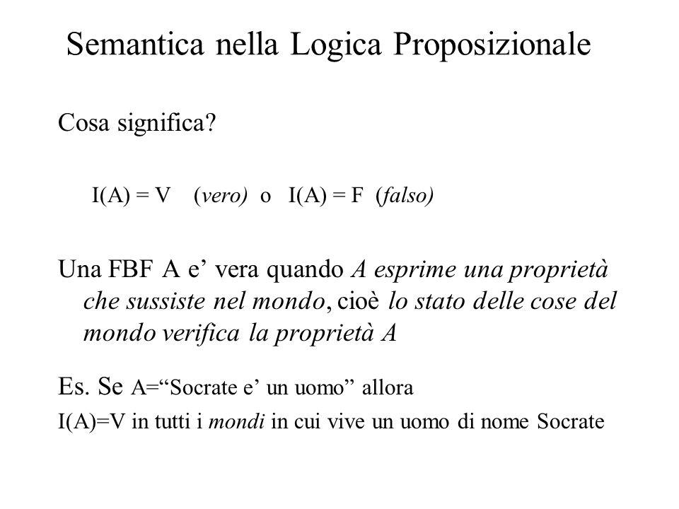 Semantica nella Logica Proposizionale Cosa significa? I(A) = V (vero) o I(A) = F (falso) Una FBF A e' vera quando A esprime una proprietà che sussiste