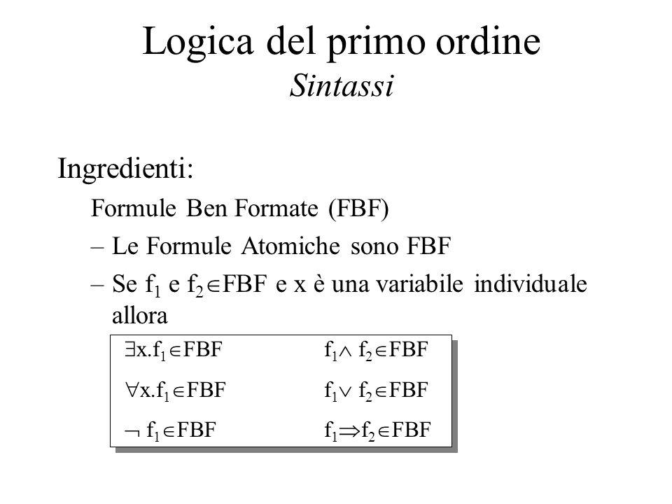 f 1  f 2  FBF f 1  f 2  FBF f 1  f 2  FBF Logica del primo ordine Sintassi Ingredienti: Formule Ben Formate (FBF) –Le Formule Atomiche sono FBF