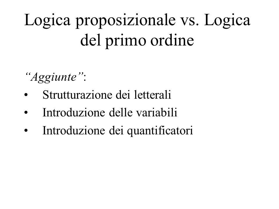 """Logica proposizionale vs. Logica del primo ordine """"Aggiunte"""": Strutturazione dei letterali Introduzione delle variabili Introduzione dei quantificator"""