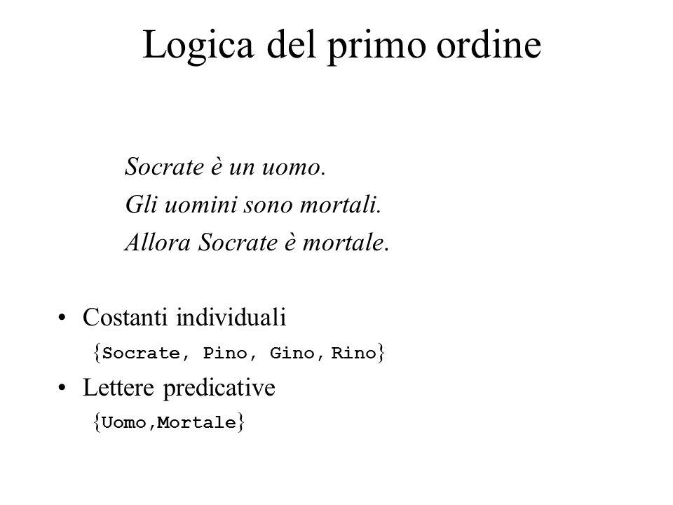 Logica del primo ordine Socrate è un uomo. Gli uomini sono mortali. Allora Socrate è mortale. Costanti individuali { Socrate, Pino, Gino, Rino } Lette