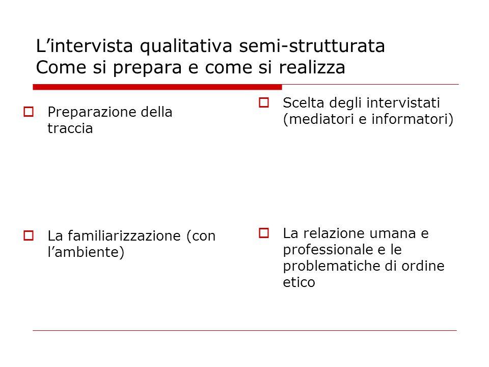 L'intervista qualitativa semi-strutturata Come si prepara e come si realizza  Preparazione della traccia  La familiarizzazione (con l'ambiente)  Scelta degli intervistati (mediatori e informatori)  La relazione umana e professionale e le problematiche di ordine etico