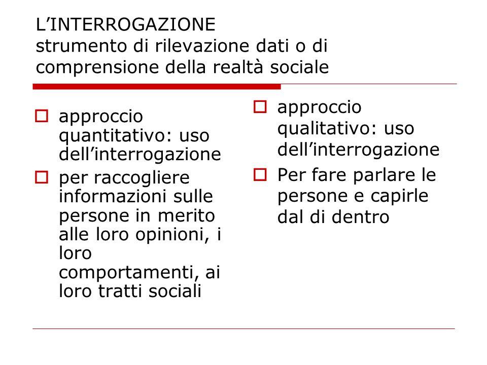 L'INTERROGAZIONE strumento di rilevazione dati o di comprensione della realtà sociale  approccio quantitativo: uso dell'interrogazione  per raccogli