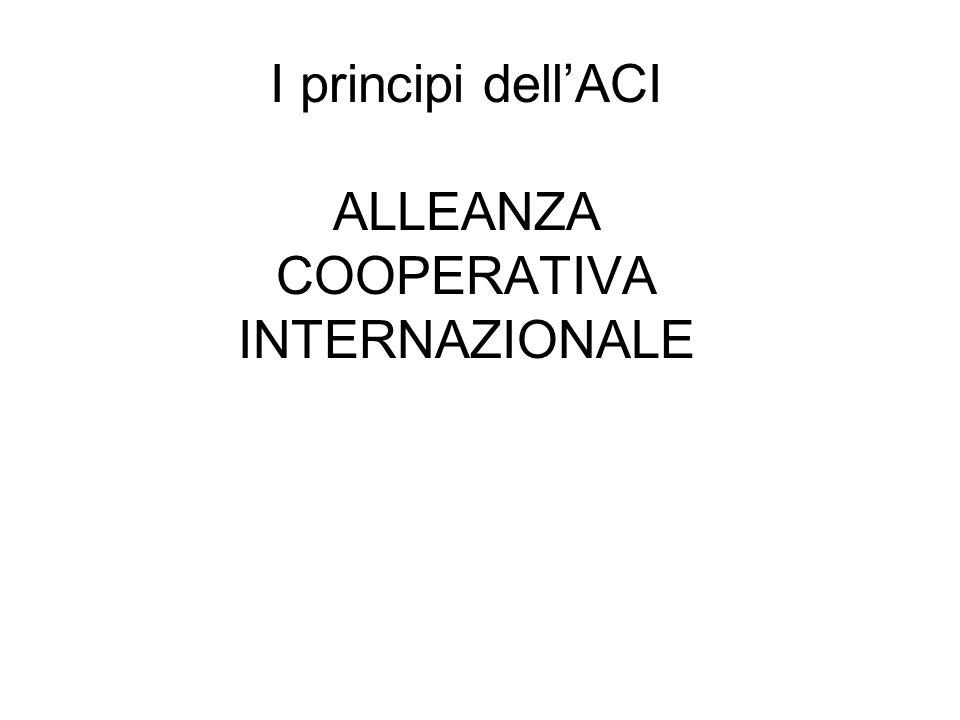 I principi dell'ACI ALLEANZA COOPERATIVA INTERNAZIONALE