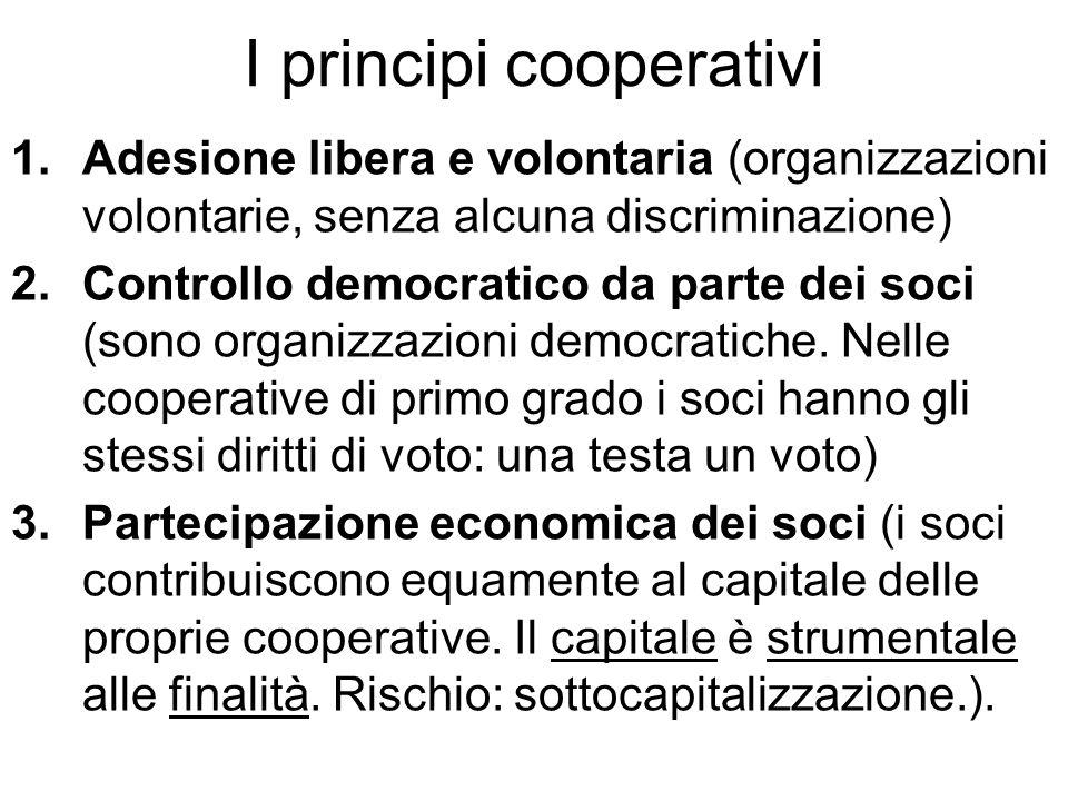 I principi cooperativi 1.Adesione libera e volontaria (organizzazioni volontarie, senza alcuna discriminazione) 2.Controllo democratico da parte dei soci (sono organizzazioni democratiche.