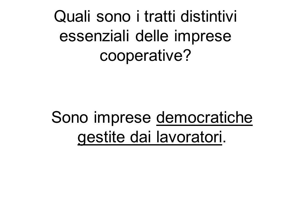 Quali sono i tratti distintivi essenziali delle imprese cooperative.