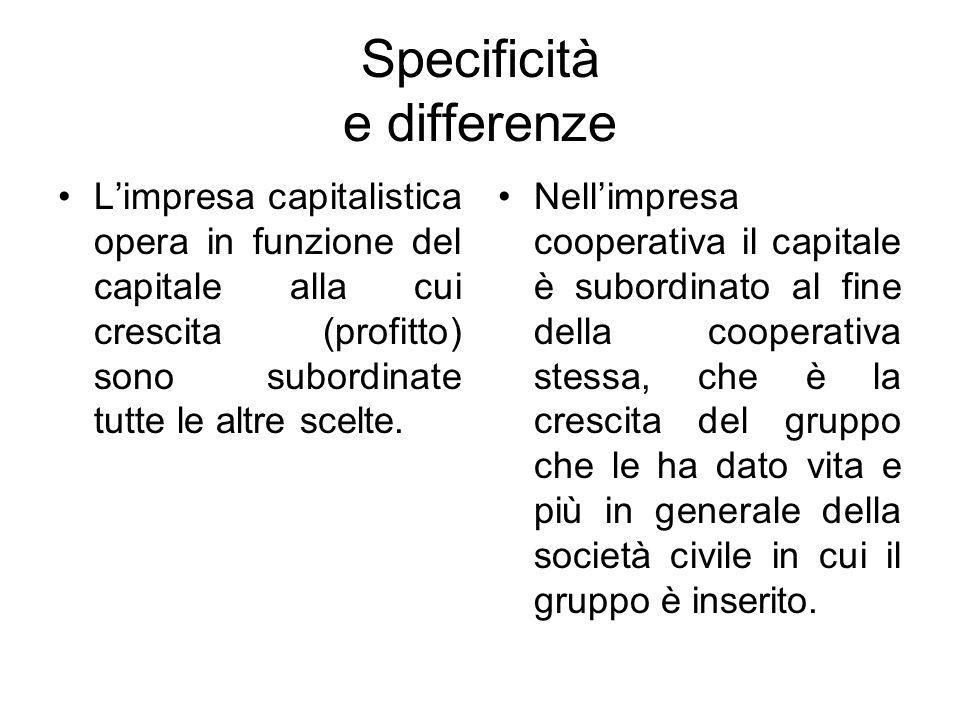 Specificità e differenze L'impresa capitalistica opera in funzione del capitale alla cui crescita (profitto) sono subordinate tutte le altre scelte.
