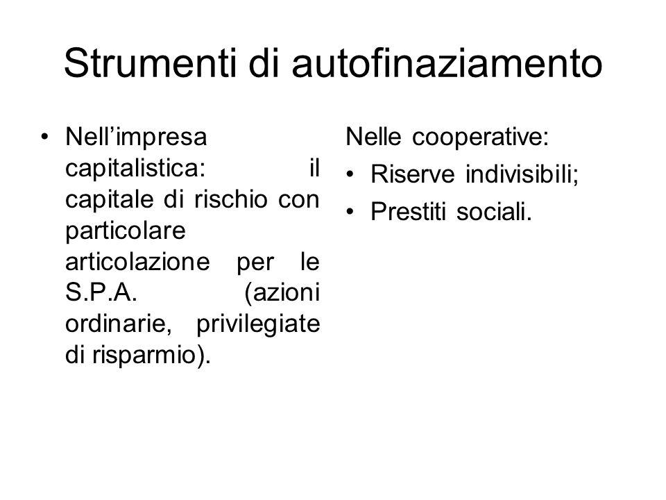 Strumenti di autofinaziamento Nell'impresa capitalistica: il capitale di rischio con particolare articolazione per le S.P.A.