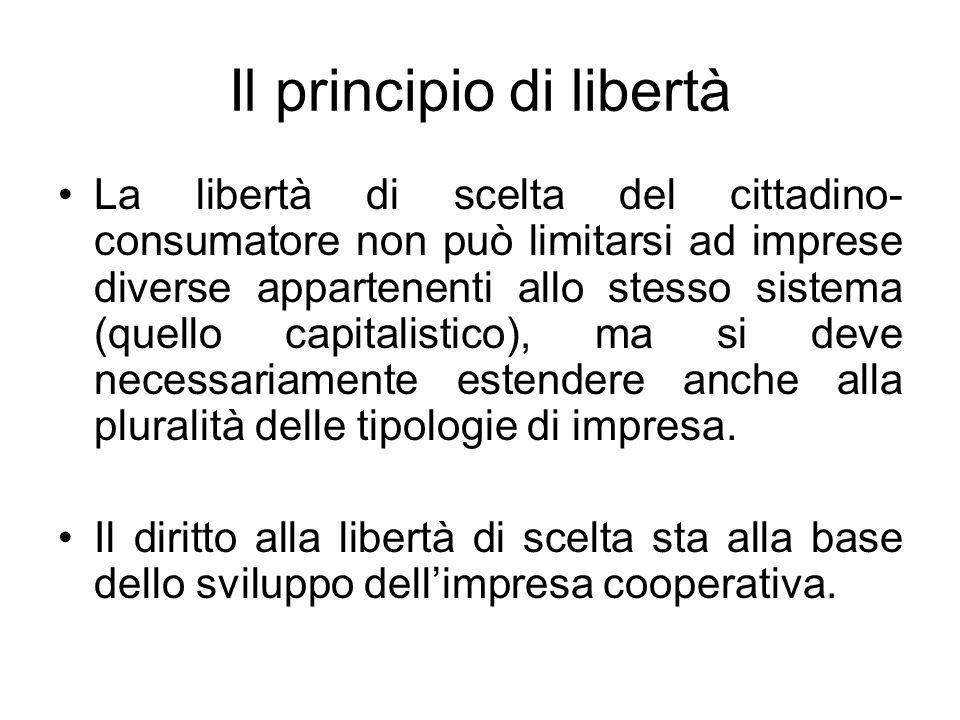 Il principio di libertà La libertà di scelta del cittadino- consumatore non può limitarsi ad imprese diverse appartenenti allo stesso sistema (quello capitalistico), ma si deve necessariamente estendere anche alla pluralità delle tipologie di impresa.