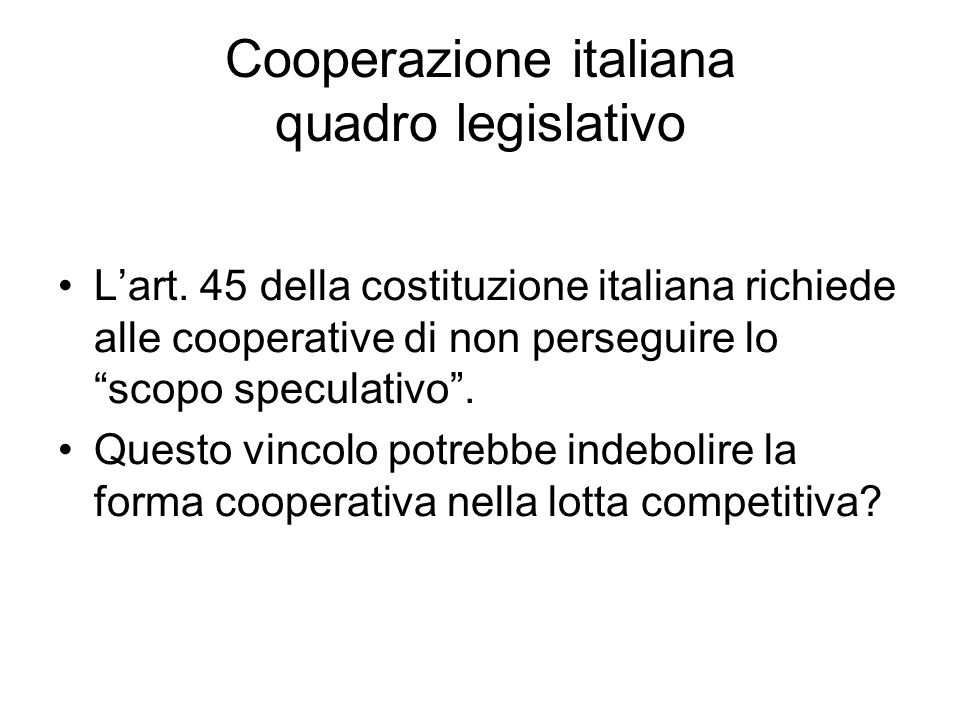 Cooperazione italiana quadro legislativo L'art.