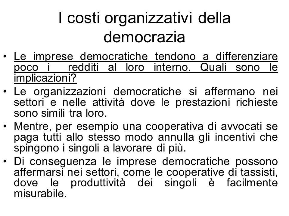 I costi organizzativi della democrazia Le imprese democratiche tendono a differenziare poco i redditi al loro interno.