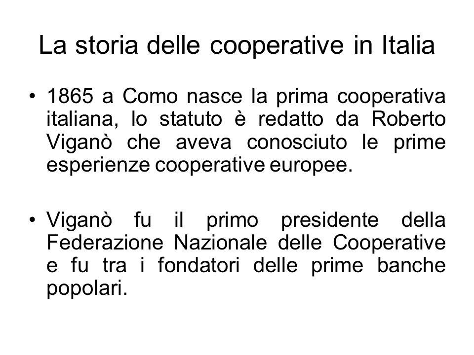 La storia delle cooperative in Italia 1865 a Como nasce la prima cooperativa italiana, lo statuto è redatto da Roberto Viganò che aveva conosciuto le prime esperienze cooperative europee.