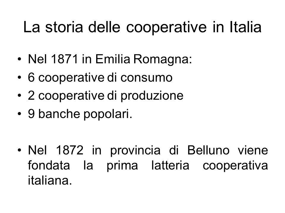 La storia delle cooperative in Italia Nel 1871 in Emilia Romagna: 6 cooperative di consumo 2 cooperative di produzione 9 banche popolari.