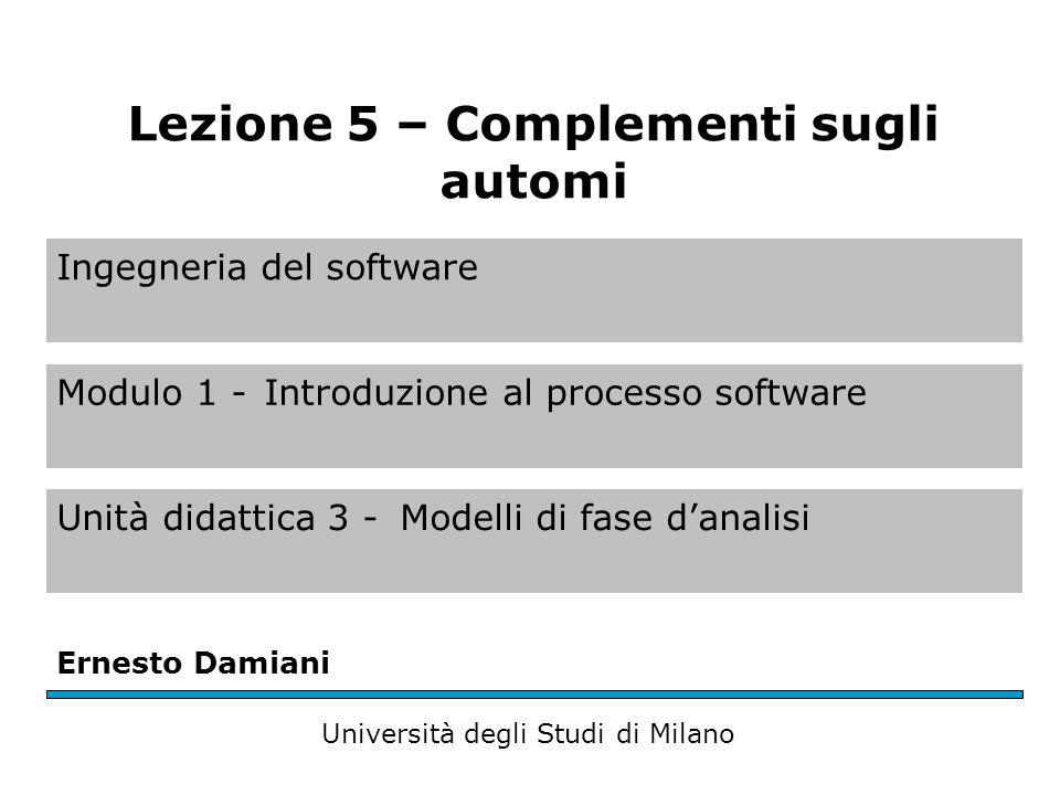 Ingegneria del software Modulo 1 -Introduzione al processo software Unità didattica 3 -Modelli di fase d'analisi Ernesto Damiani Università degli Studi di Milano Lezione 5 – Complementi sugli automi