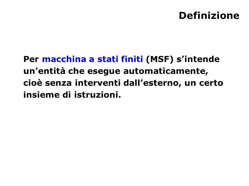 Definizione Per macchina a stati finiti (MSF) s'intende un'entità che esegue automaticamente, cioè senza interventi dall'esterno, un certo insieme di istruzioni.