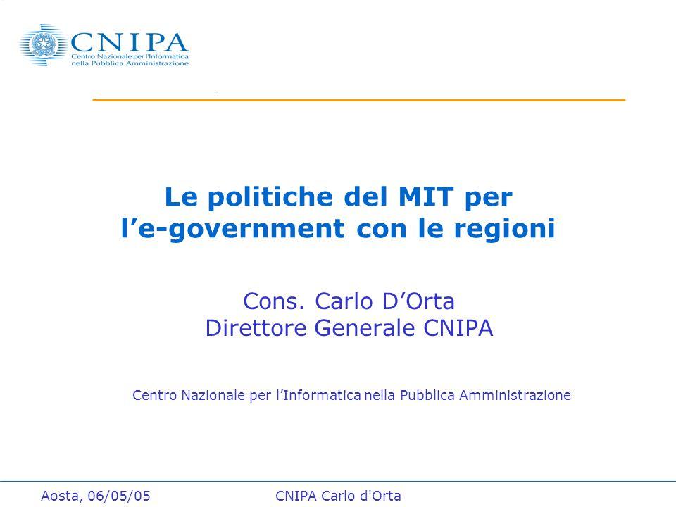 Aosta, 06/05/05CNIPA Carlo d Orta Le politiche del MIT per l'e-government con le regioni Cons.