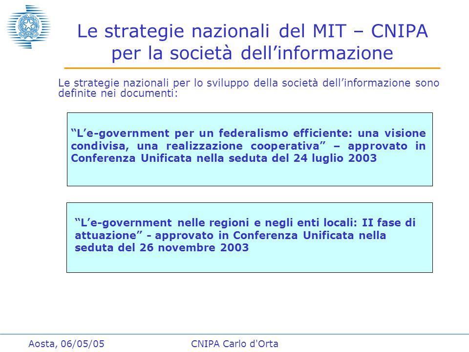 """Aosta, 06/05/05CNIPA Carlo d'Orta Le strategie nazionali del MIT – CNIPA per la società dell'informazione """"L'e-government per un federalismo efficient"""