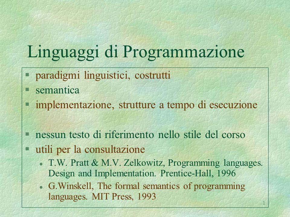 12 I favolosi anni '60: LISP e ALGOL'60 §risultati teorici a monte l formalizzazione degli aspetti sintattici primi risultati semantici basati sul -calcolo §caratteristiche comuni l introduzione dell'ambiente l vera astrazione procedurale con ricorsione l argomenti procedurali e per nome §ALGOL'60 l primo linguaggio imperativo veramente ad alto livello l scoping statico l gestione dinamica della memoria a stack §LISP (sempreverde, ancora oggi il linguaggio dell'A.I.) primo linguaggio funzionale, direttamente ispirato al -calcolo l scoping dinamico l strutture dati dinamiche, gestione dinamica della memoria a heap con garbage collector
