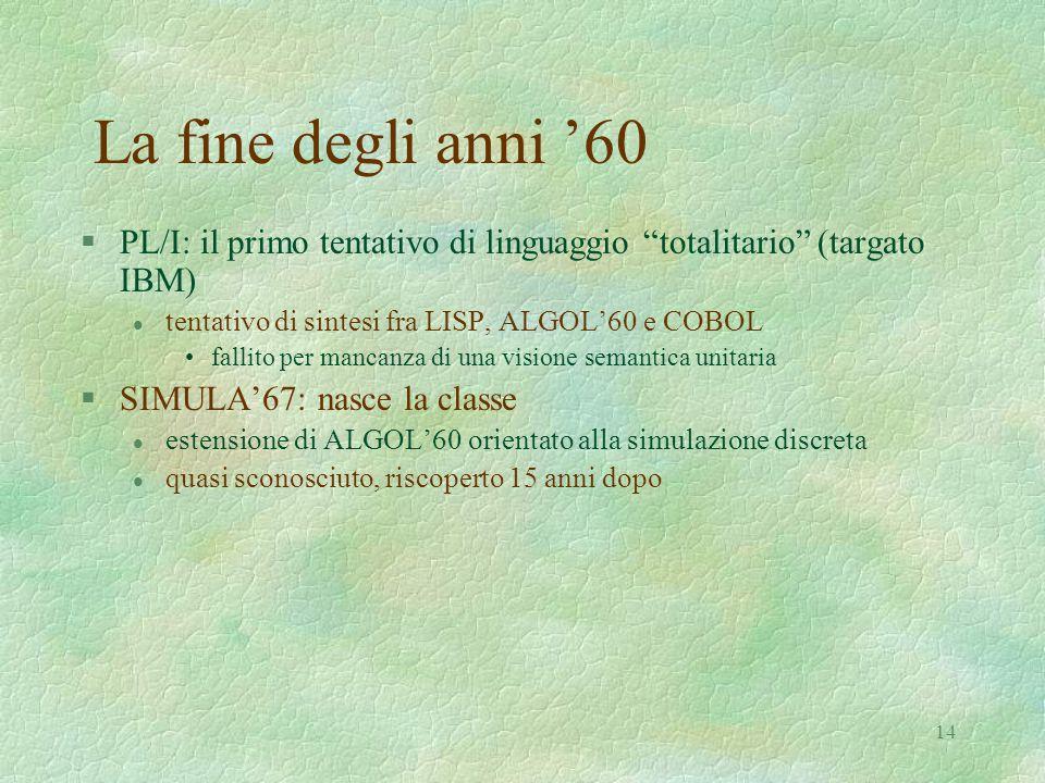 """14 La fine degli anni '60 §PL/I: il primo tentativo di linguaggio """"totalitario"""" (targato IBM) l tentativo di sintesi fra LISP, ALGOL'60 e COBOL fallit"""