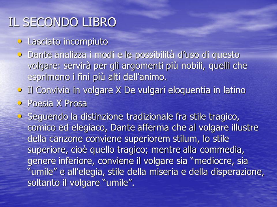 IL SECONDO LIBRO Lasciato incompiuto Lasciato incompiuto Dante analizza i modi e le possibilità d'uso di questo volgare: servirà per gli argomenti più