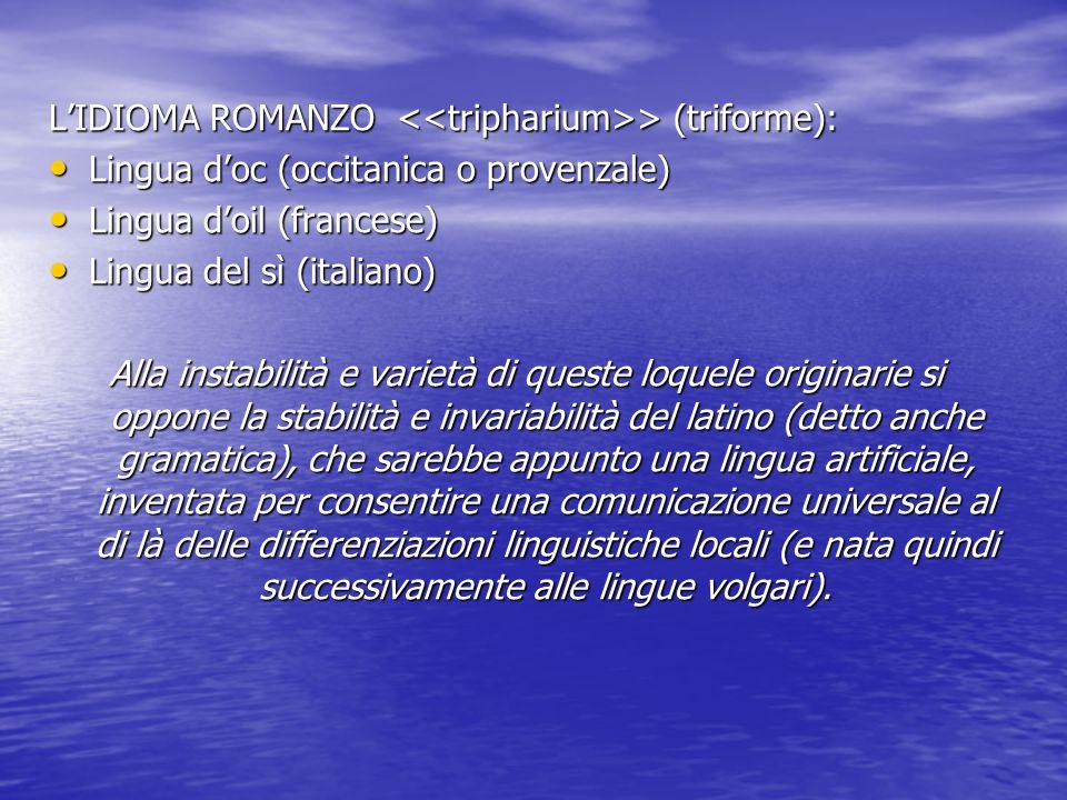 L'IDIOMA ROMANZO <<tripharium>> (triforme): Lingua d'oc (occitanica o provenzale) Lingua d'oil (francese) Lingua del sì (italiano) Alla instabilità e