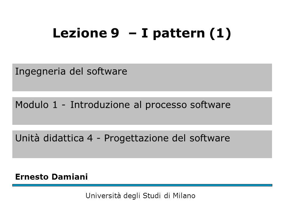 Ingegneria del software Modulo 1 -Introduzione al processo software Unità didattica 4 - Progettazione del software Ernesto Damiani Università degli Studi di Milano Lezione 9 – I pattern (1)