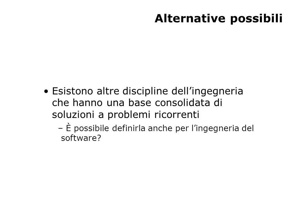 Alternative possibili Esistono altre discipline dell'ingegneria che hanno una base consolidata di soluzioni a problemi ricorrenti – È possibile definirla anche per l'ingegneria del software