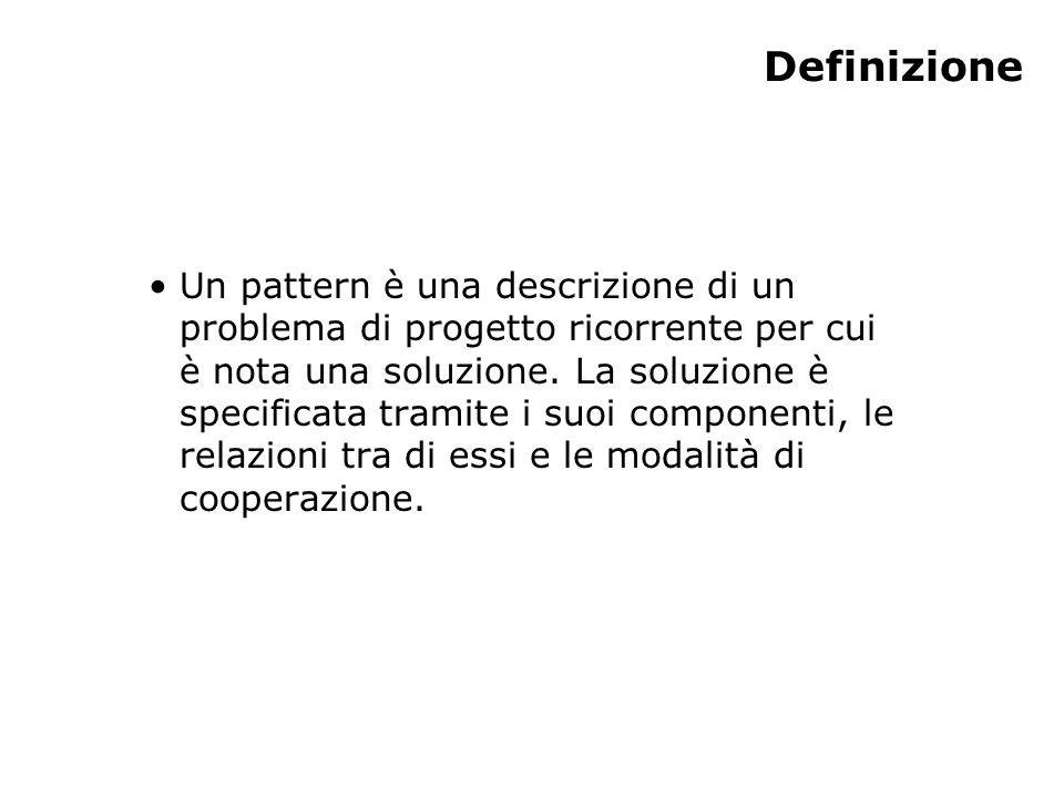 Definizione Un pattern è una descrizione di un problema di progetto ricorrente per cui è nota una soluzione.