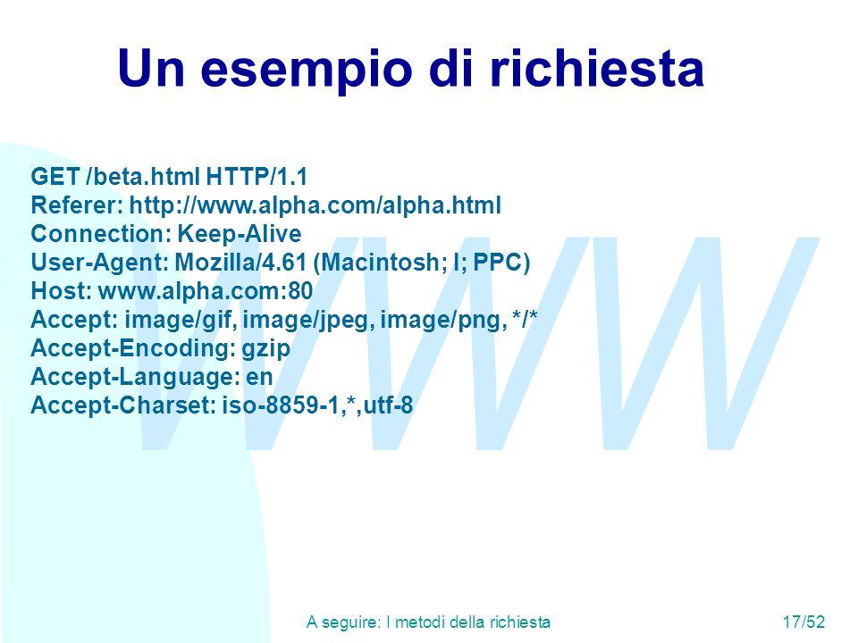 WWW A seguire: I metodi della richiesta17/52 Un esempio di richiesta GET /beta.html HTTP/1.1 Referer: http://www.alpha.com/alpha.html Connection: Keep-Alive User-Agent: Mozilla/4.61 (Macintosh; I; PPC) Host: www.alpha.com:80 Accept: image/gif, image/jpeg, image/png, */* Accept-Encoding: gzip Accept-Language: en Accept-Charset: iso-8859-1,*,utf-8