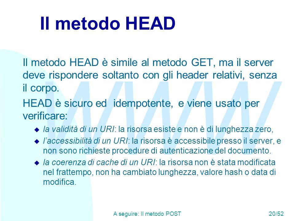 WWW A seguire: Il metodo POST20/52 Il metodo HEAD Il metodo HEAD è simile al metodo GET, ma il server deve rispondere soltanto con gli header relativi, senza il corpo.