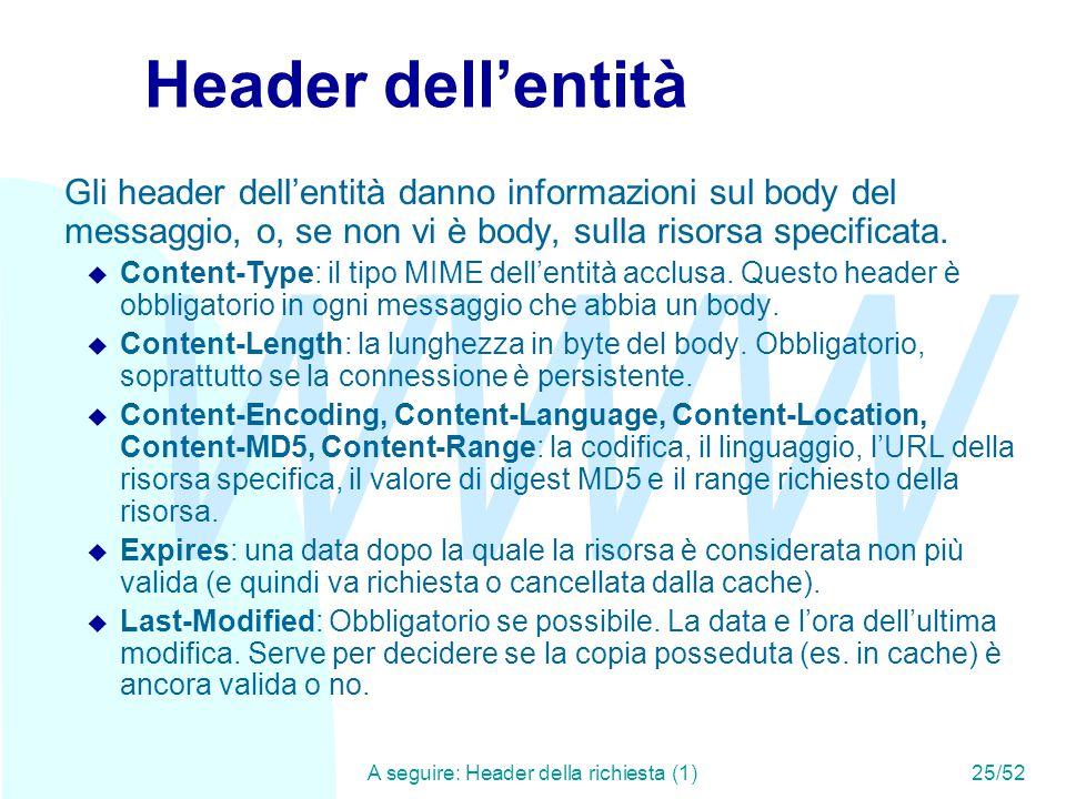 WWW A seguire: Header della richiesta (1)25/52 Header dell'entità Gli header dell'entità danno informazioni sul body del messaggio, o, se non vi è body, sulla risorsa specificata.