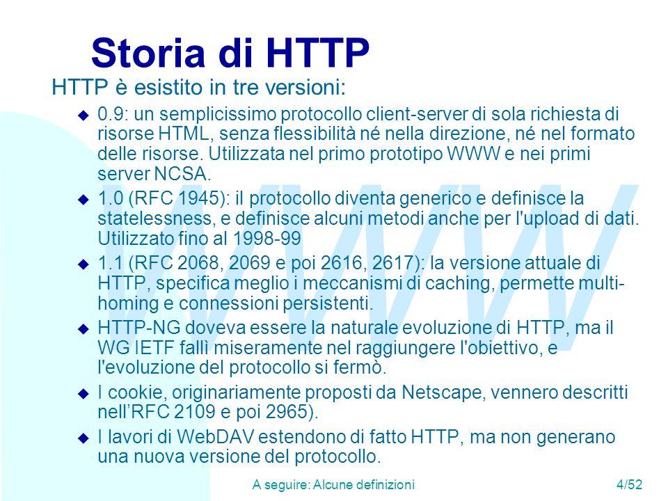 WWW A seguire: Alcune definizioni4/52 Storia di HTTP HTTP è esistito in tre versioni: u 0.9: un semplicissimo protocollo client-server di sola richiesta di risorse HTML, senza flessibilità né nella direzione, né nel formato delle risorse.