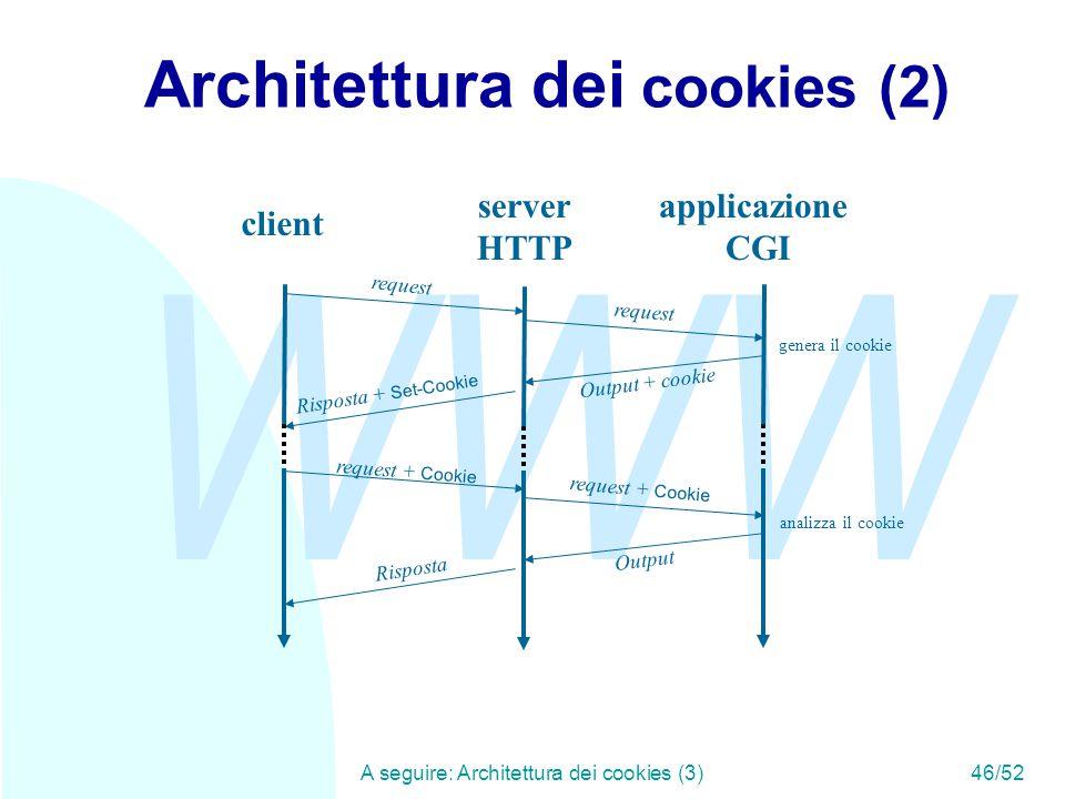 WWW A seguire: Architettura dei cookies (3)46/52 Architettura dei cookies (2) client server HTTP applicazione CGI request Output + cookie Risposta + Set-Cookie request + Cookie Output Risposta genera il cookie analizza il cookie