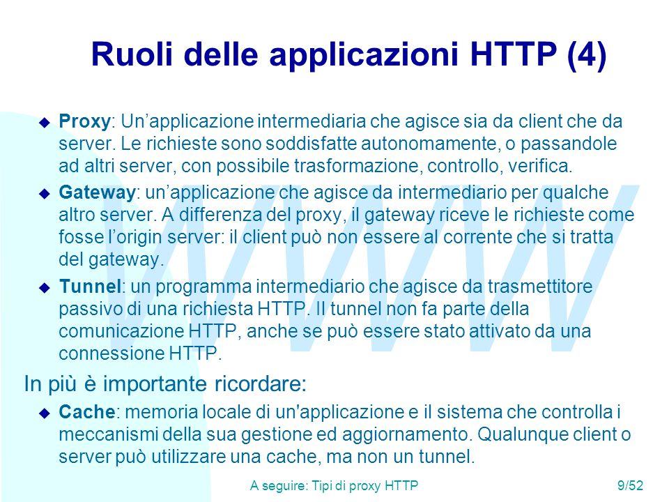 WWW A seguire: La connessione HTTP (1)10/52 Tipi di proxy HTTP In generale un proxy si pone come intermediario tra client e server e decide se e come rispondere al client.