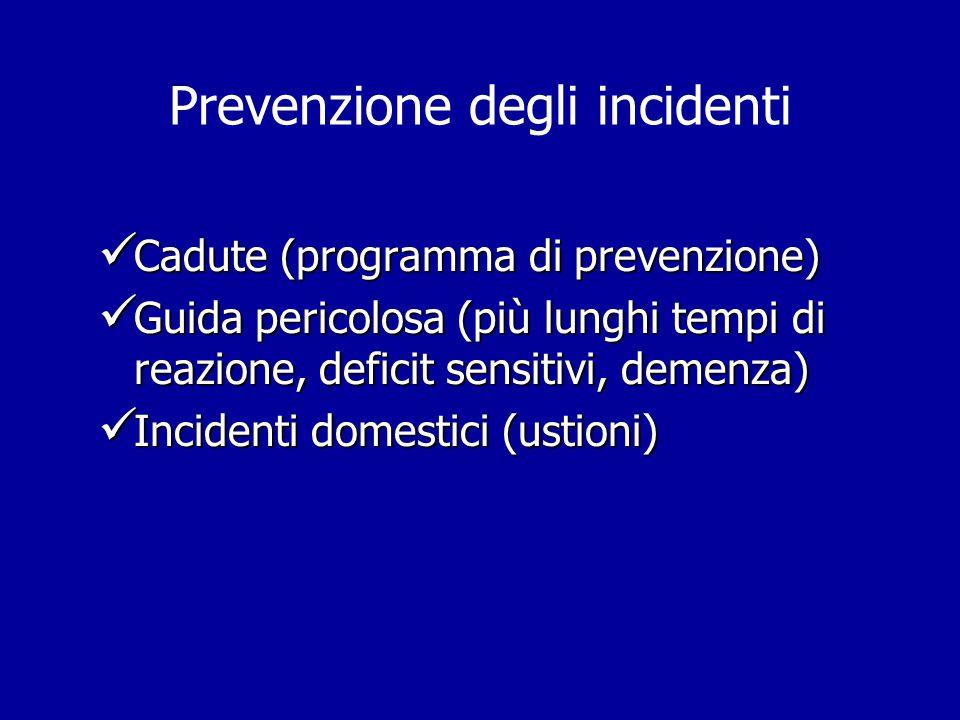 Prevenzione degli incidenti Cadute (programma di prevenzione) Cadute (programma di prevenzione) Guida pericolosa (più lunghi tempi di reazione, defici
