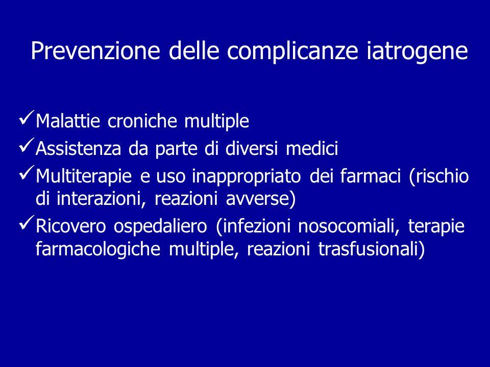 Prevenzione delle complicanze iatrogene Malattie croniche multiple Assistenza da parte di diversi medici Multiterapie e uso inappropriato dei farmaci