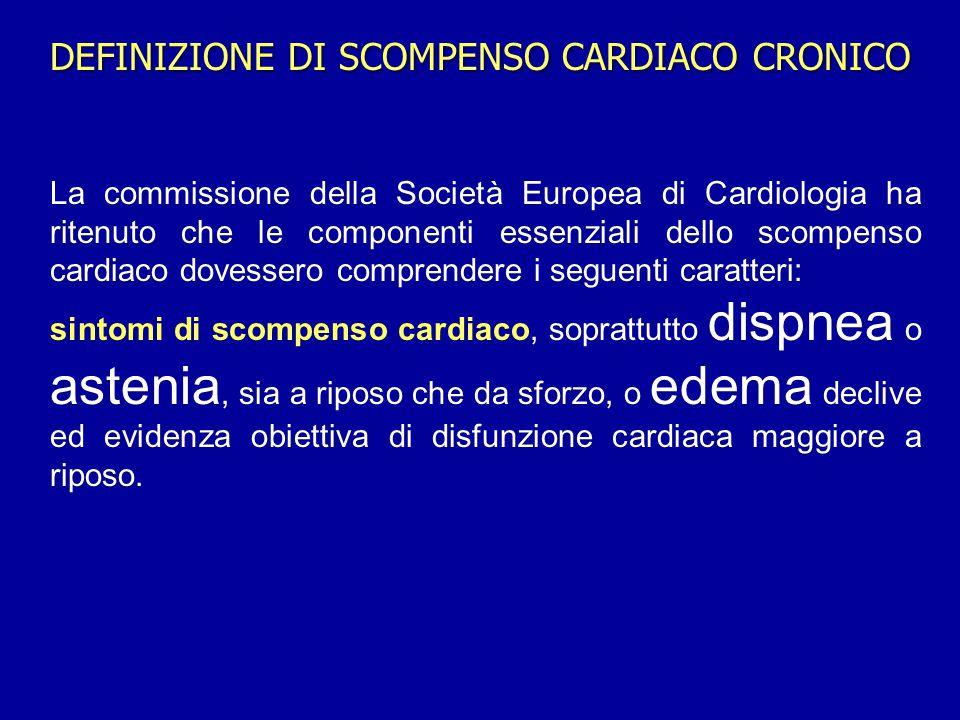 La commissione della Società Europea di Cardiologia ha ritenuto che le componenti essenziali dello scompenso cardiaco dovessero comprendere i seguenti