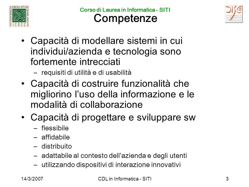Corso di Laurea in Informatica - SITI 14/3/2007CDL in Informatica - SITI4 Insegnamenti